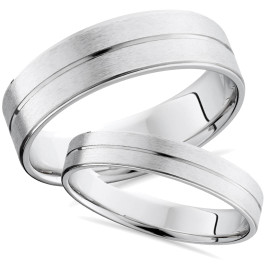14k White Gold Matching Brushed Wedding Ring Band Set