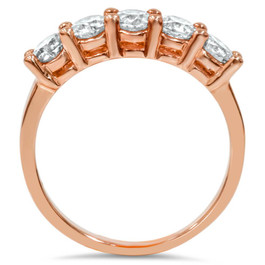1.50CT 5 Stone Diamond Ring 14K Rose Gold (H/I, I1-I2)