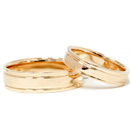 Double Inlay Wedding Band Set 14K Yellow Gold