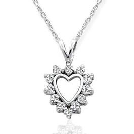 1/3ct Diamond Heart Pendant 14K White Gold (G/H, VS)