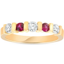 1/2ct Ruby & Diamond Wedding Anniversary 14K Gold Ring (G/H, I1)