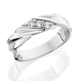 Three Stone Diamond 14K White Gold Wedding Ring (G/H, I2)