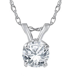 1/2ct Round Diamond Solitaire Pendant 14K White Gold Brilliant Cut (I, I1-I2)