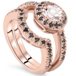 1 1/2ct Morganite & Black Diamond Halo Engagement Ring Set 14K Rose Gold (Black, )