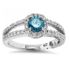 3/4ct Halo Split Shank Treated Blue Diamond Engagement Ring 14K White Gold (G/H, I2)