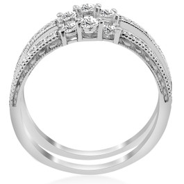 1/2 Carat 14k White Gold Round Diamond Wedding Band Enhancer Guard Ring (H/I, I1-I2)