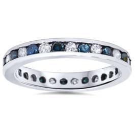 1ct Blue & White Diamond Eternity Guard Ring 14K White Gold (G/H, I1)