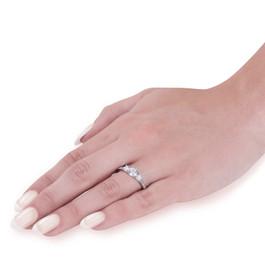 1 ct Round Diamond 3-Stone Lab Grown Eco Friendly Engagement Ring 14k White Gold (F, VS)