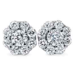 1 1/2ct Diamond Halo Studs 14K White Gold (H-I, VVS)