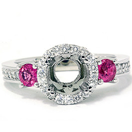 3/4ct Pink Sapphire & Diamond Engagement Ring Semi Mount 14K White Gold (G/H, SI)