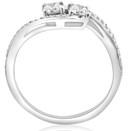 1/2 Carat 2 Stone Forever Us Diamond Engagement Ring White Gold (H/I, I1-I2)