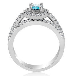 Blue Diamond Halo Engagement Ring 3/4ct Matching Wedding Ring White Gold Treated (G/H, I2)