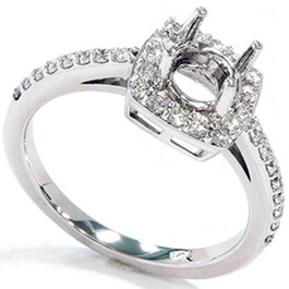 1/3ct Diamond Halo 14K White Gold Engagement Ring Setting (G/H, I1)