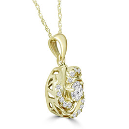 1/2CT Diamond Vintage Circle Braided Pendant 14K Yellow Gold (G/H, I1)