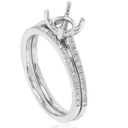 1/5ct Pave Cathedral Diamond Engagement Ring Setting 14K White Gold (G/H, I1-I2)
