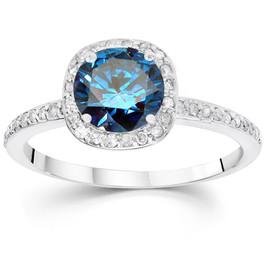1 1/6ct Blue Diamond Cushion Halo Engagement Ring 14K White Gold (G/H, SI3-I1)