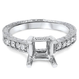 White Gold 1/4ct Princess Cut Diamond Hand Engraved Engagement (G/H, I2)
