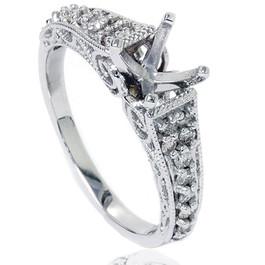 3/8ct Vintage Diamond Engagement Ring Mount 14K White Gold (G/H, SI2)