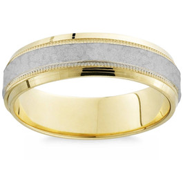Men's Hammered Platinum & 18K Yellow Gold Two Tone Comfort Fit Wedding Band