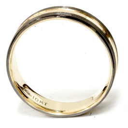 Mens 10k Black & Yellow Gold Two Tone Brushed Wedding Band 6mm