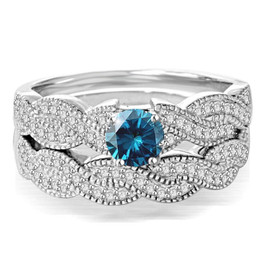 3/4ct Pave Treated Blue Diamond Infinity Engagement Ring Set 14K White Gold (G/H, I2)