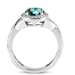 3/4ct Pave Halo Blue Diamond Engagement Ring 14K White Gold (G/H, I2)