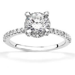 1ct Diamond Halo Engagement Ring 14K White Gold (I-J, I1-I2)