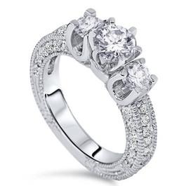 2ct Diamond Vintage 3 Stone Engagement Antique Ring 14K White Gold ((G-H), SI(1)-SI(2))