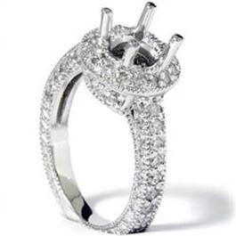 1ct Diamond Engagement Antique 14K White Gold Ring Setting (G/H, I1)