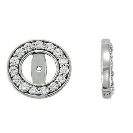 G/SI 1/2ct Halo Round Diamond Studs Earring Jackets 14K White Gold Fits 1/4T (3.5-4mm) (G-H, SI)