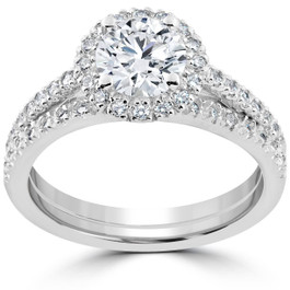 1 1/2 ct Diamond Halo Engagement Wedding Ring Set 14k White Gold Enhanced (G/H, I1-I2)