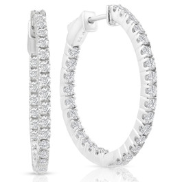 "1.50ct Diamond Inside Outside Hoops Vault Lock 1"" Tall 14k White Gold (D, VS(1)-VS(2))"