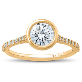 1 3/4 ct Charlotte Diamond Engagement Ring 14k Yellow Gold Lab Grown Bezel Round (F/G, VS2-SI1)