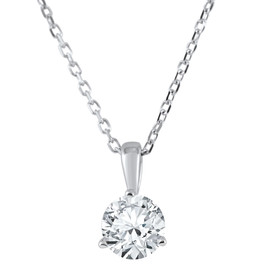 1/3 ct Solitaire Diamond Pendant available in 14K and Platinum (F, SI1-SI2)