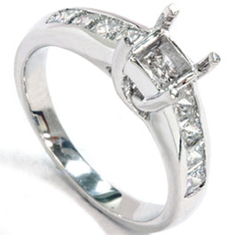 1ct Princess Cut Diamond Cathedral Engagement Ring Setting (G/H, SI)