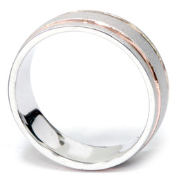 Mens 14k Rose & White Gold Two Tone 7MM Brushed Wedding Band