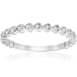 Stackable Diamond Wedding Ring 14k White Gold (G/H, I1-I2)