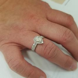 1 1/10ct Pear Shape Halo Diamond Engagement Wedding Ring Set 14k White Gold ((G-H), SI(2)-I(1))