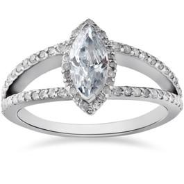 1 1/2ct Marquise Diamond Halo Split Shank Engagement Ring 14k White Gold (G/H, I1-I2)