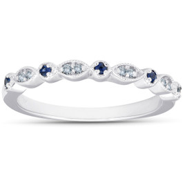 1/5 ct Blue Sapphire & Diamond Wedding Ring Stackable Band 10k White Gold (I/J, I2-I3)
