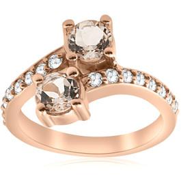 1 1/2ct Morganite & Diamond 2-Stone Forever Us Engagement Ring 14k Rose Gold (H/I, I1)