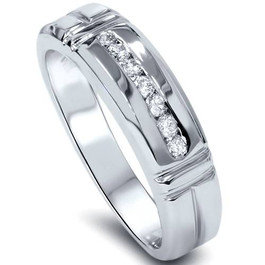 1/4ct Channel Set Diamond Ring 14K White Gold Mens Wedding Band (G/H, SI)