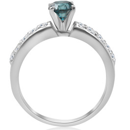 1 3/8Ct Blue Round Cut Diamond Matching Bridal Engagement Ring Set White Gold (H/I, I1-I2)