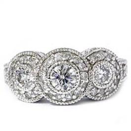 1 1/2ct Vintage Three Stone Lab Created Diamond Engagement Ring 14K White Gold (F, VS)