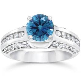 1 3/4ct Blue & White Diamond Ring 14K Gold (G/H, I1)