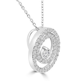 "Diamond 1/2 Ct Double Circle Solitaire Pendant 14K White Gold 18"" Chain (K-L,I2-I3) (G/H, I2)"