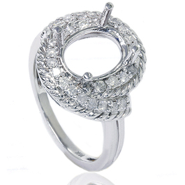 3/8ct Vintage Braided Oval Ring Setting 14K White Gold (G/H, I2)