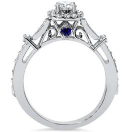 Verona 1ct Cushion Halo Diamond & Blue Sapphire Engagement Ring 14K White Gold (G/H, I1-I2)