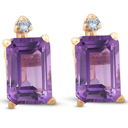 1 3/4ct Emerald Amethyst Stud Earrings 14k Yellow Gold