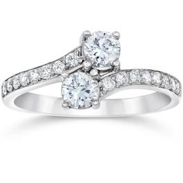 1 3/4 Ct 2-Stone Forever Us Lab Grown Diamond Engagement Ring 14K White Gold (E/F, VS1-VS2)